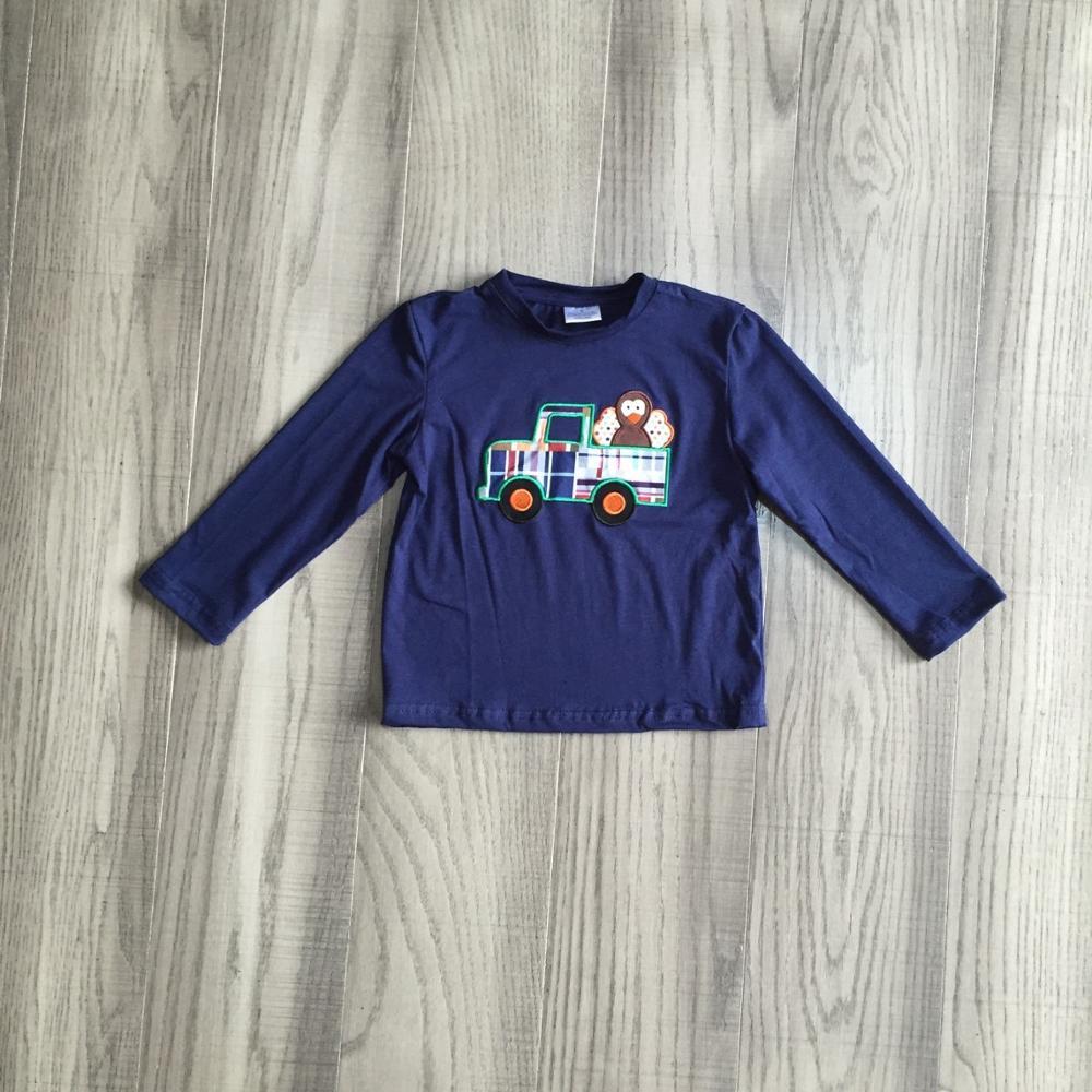 Girlymax fall/winter baby boys thanksgiving cotton long sleeve top t-shirt raglan Gingham navy truck turkey children clothes 1