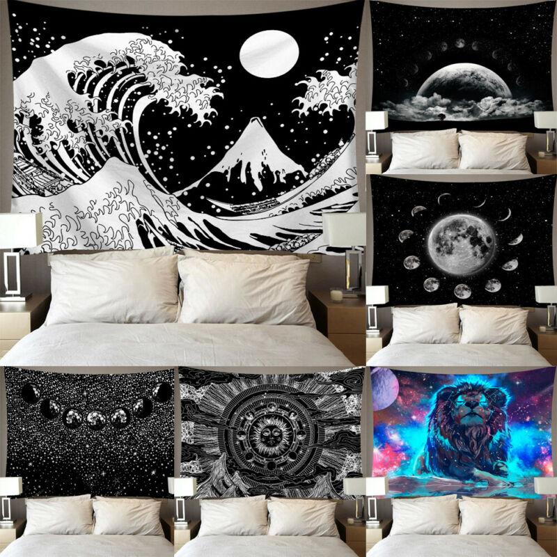 Home Decor Printed Tapestry Wall Hanging Polyester Lion Moon Starry Sky Pattern Blanket Tapestry