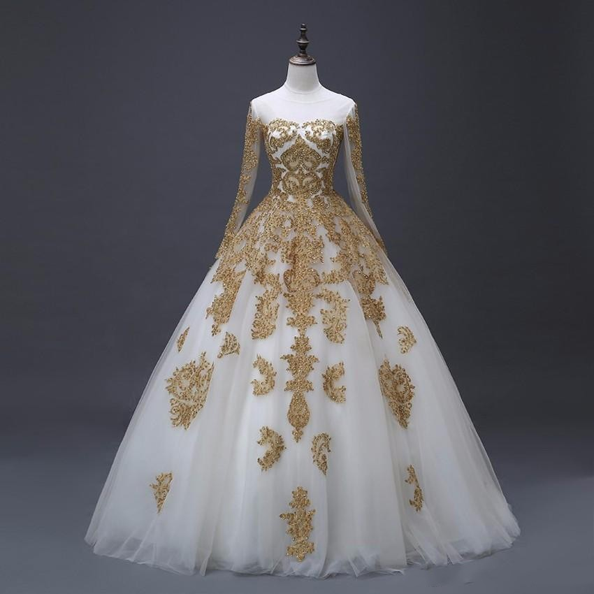 2020 Vintage Gold Lace Applique Wedding Dresses With Long Sleeves Princess Dubai Wedding Gowns Custom Made