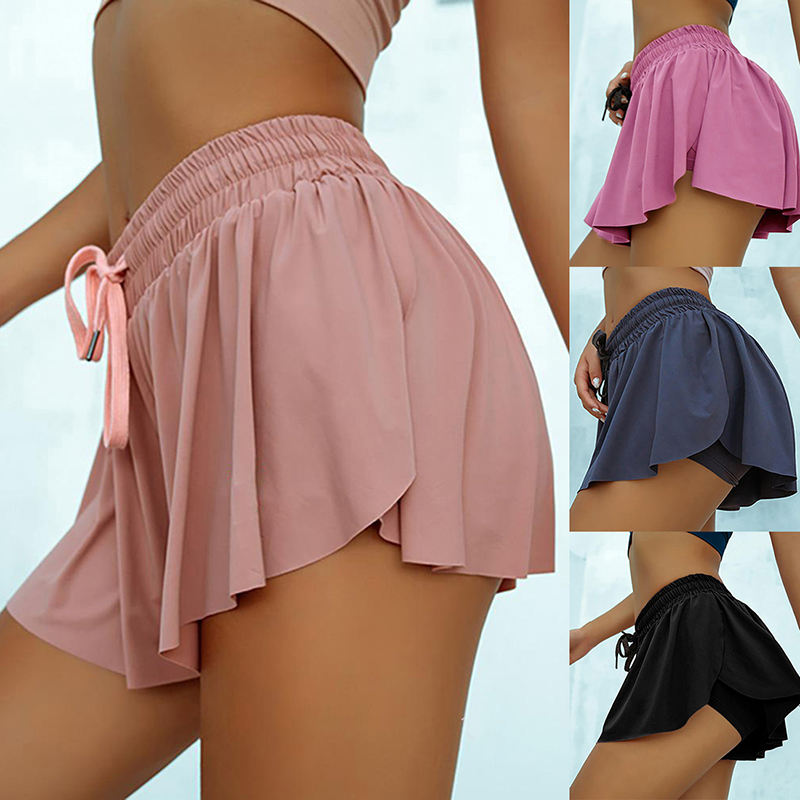Шорты для йоги, для бега велосипедные байкерские шорты попки уплотнение юбка для Для женщин и девочек 2 в 1 марафон быстросохнущая тренажерн...
