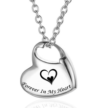 Heart Shape Cremation Urn Jewelry for Ashes Stainless Steel Necklace for Pet Memorial Keepsake Pendant-Forever in My Heart