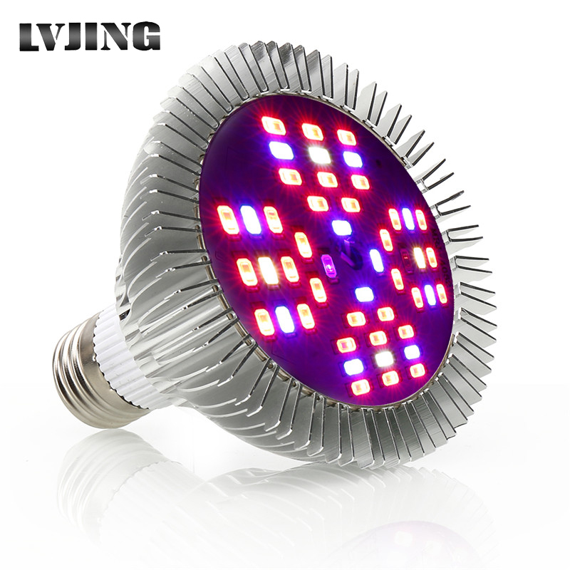 1-100pcs/lot Full Spectrum E27 LED Grow Light Bulb 48W Phyto Lamp IR UV For Indoor Garden Plant Flower Hydroponics Grow Tent Box