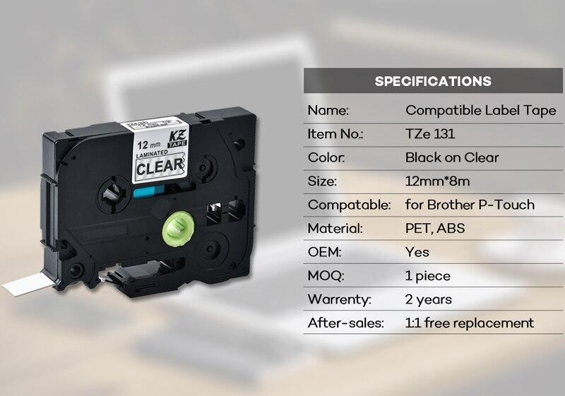 6x 12mm TZe-131 TZ-131 Schriftband Kassette für Brother P-touch 1010 H100LB D200