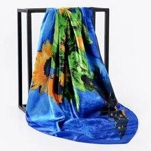 Bufanda de seda de las mujeres pelo cuello bufandas cuadradas Oficina chal pañuelo 90*90cm pañuelo Hijab silenciador foulard