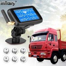 Infitary kaliteli kablosuz ile kamyon TPMS 6 harici sensörü evrensel araba lastik basıncı izleme sistemi otomatik güvenlik alarmı