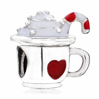 New 925 Sterling Silver Bead Charm Red Enamel Love Heart Ice Cream Cup Warm Cocoa Beads Fit Bracelet Bangle Diy Jewelry