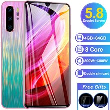 5.8inch Fullscreen Smartphone 4+64GB Android8.1 MTK6592 8 Core Ultra-thin Smartphone with Face ID Cellphone 3G 4G Smart Phones