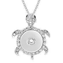 Pendant Necklace Chains Jewelry Snap Turtle 20mm Women with for Fit 18mm ZG251 New