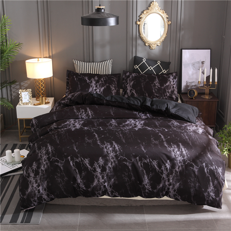 Black Marble Printed Bedding Set Purple Queen Size 2pcs/3pcs Duvet Cover Set Bed Linen Quilt Cover