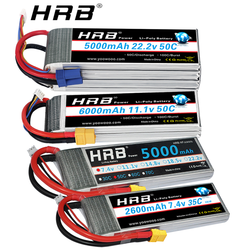 Clearance Sale HRB RC <font><b>Lipo</b></font> Battery 2S 3S 4S <font><b>5S</b></font> 6S 2200mah 2600mah 2700mah <font><b>5000mah</b></font> 6000mah XT60 Deans Plug for RC Car helicopter image
