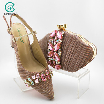 2020 Summer New Italian Design Women Matching Shoes and Bag Set African Style in pnik Color Ladies Wedding Shoes and Bag