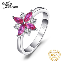 JewelryPalace Flowers 0.85ct Created Ruby Statement Ring 925 Sterling Silver Romantic Fine For Women Feminine Jewelry