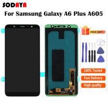Amoled para samsung galaxy a6 plus 2018 a605 display lcd com tela de toque digitador assembléia frete grátis