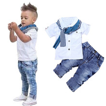 2020 Baby Boy Clothes Casual T-Shirt+Scarf+Jeans 3pc Baby Clothing Set Summer Child Kids Costume For Boys Toddler Boys Clothes cheap LONSANT Fashion O-Neck Pullover Baby outfits Cotton Short Regular Fits true to size take your normal size Coat Solid kids clothes