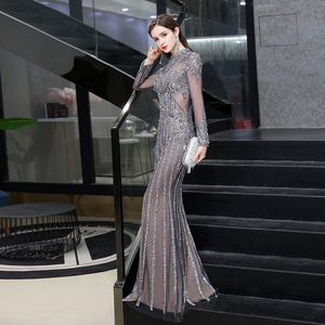 Image 3 - Dubai Luxury Mermaid Evening Dress 2020 Gorgeous Gray High Neck Beaded Beading Rhinestones Crystal Long Sleeve Formal Gown
