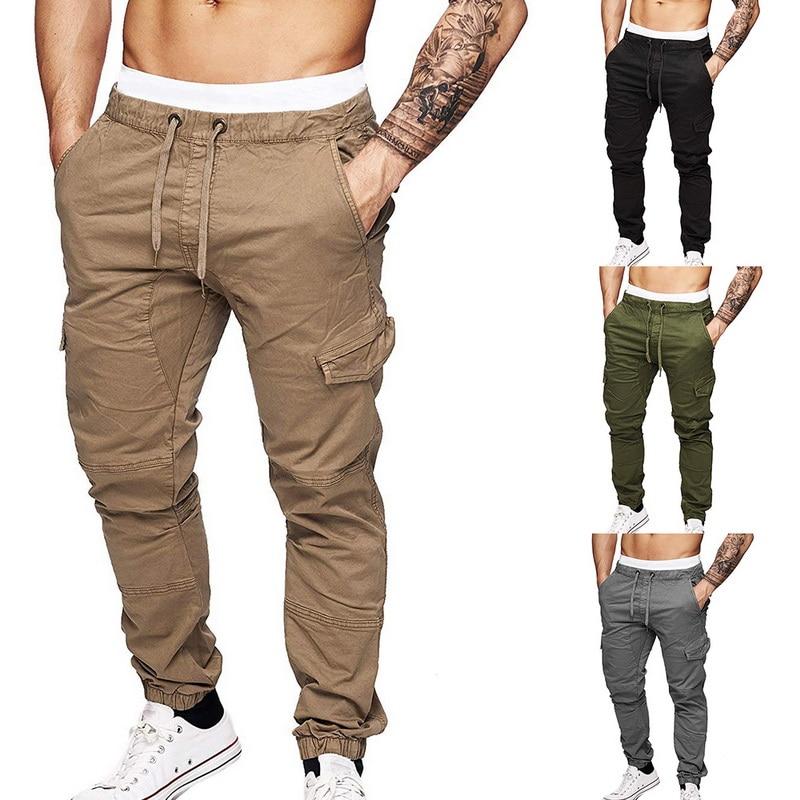 Mens Casual Solid Multi-pocket Trousers Streetwear Slim Drawstring Cargo Pants Male 2019 Autumn Winter Jogging Sweatpants 3XL