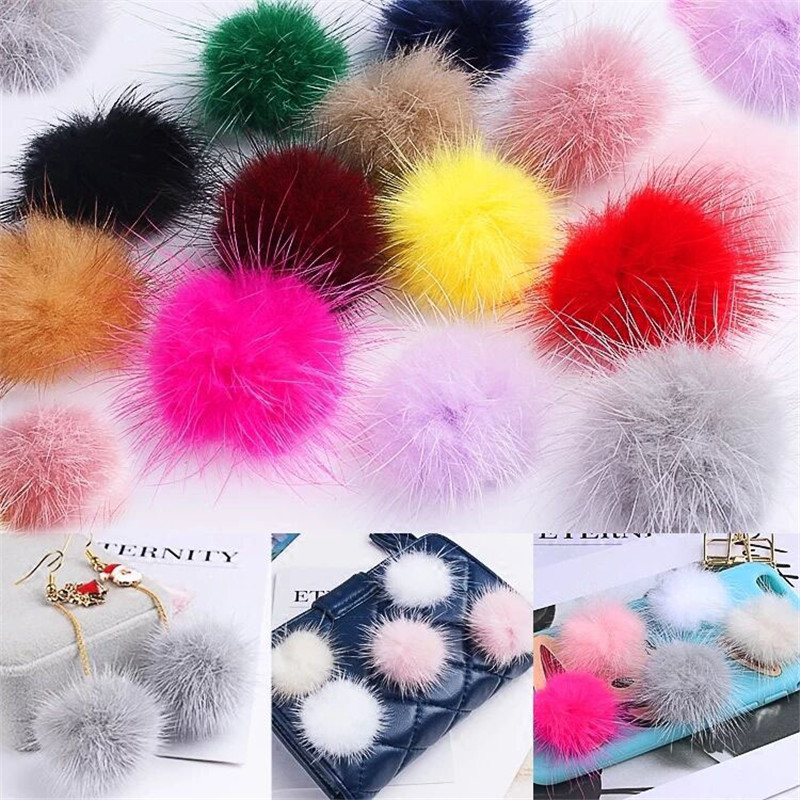 10pc 3cm Diy Pompon Imitation Mink Fur Balls Pompoms for Ring Keychain Shoes Hats Fluffy Pom Pom Diy Crafts Accessories Material(China)