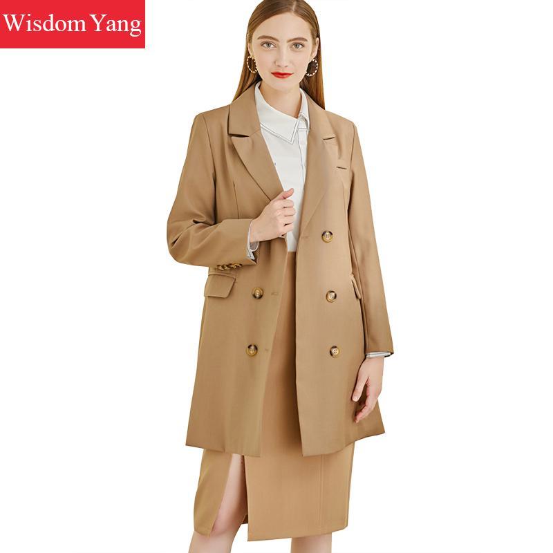 Autumn Suit Jacket Khaki Womens Blazer Long Coat Female Business Coats Jackets Office Ladies Outerwear Overcoat Woman Clothes