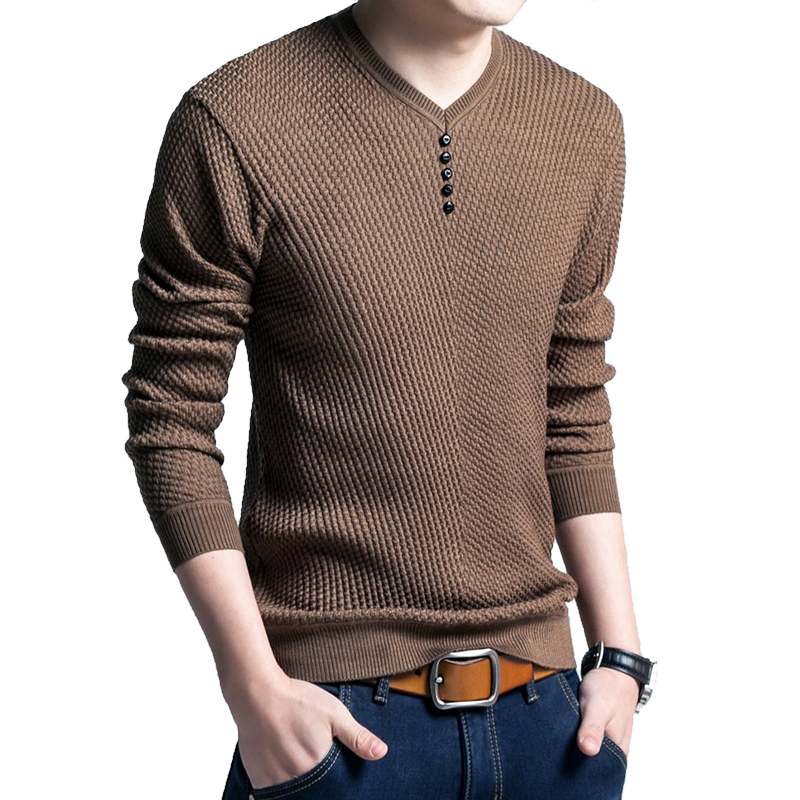 CYSINCOS Sweater Men Shirt Pull V-Neck Knitted Long-Sleeve Homme Cashmere-Wool Autumn