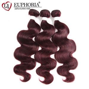 Image 4 - 99J Burgundy Body Wave Bundles With Closure Blonde 27 Brazilian Remy Human Hair 3 Bundles With 4x4 Lace Closure Frontal EUPHORIA
