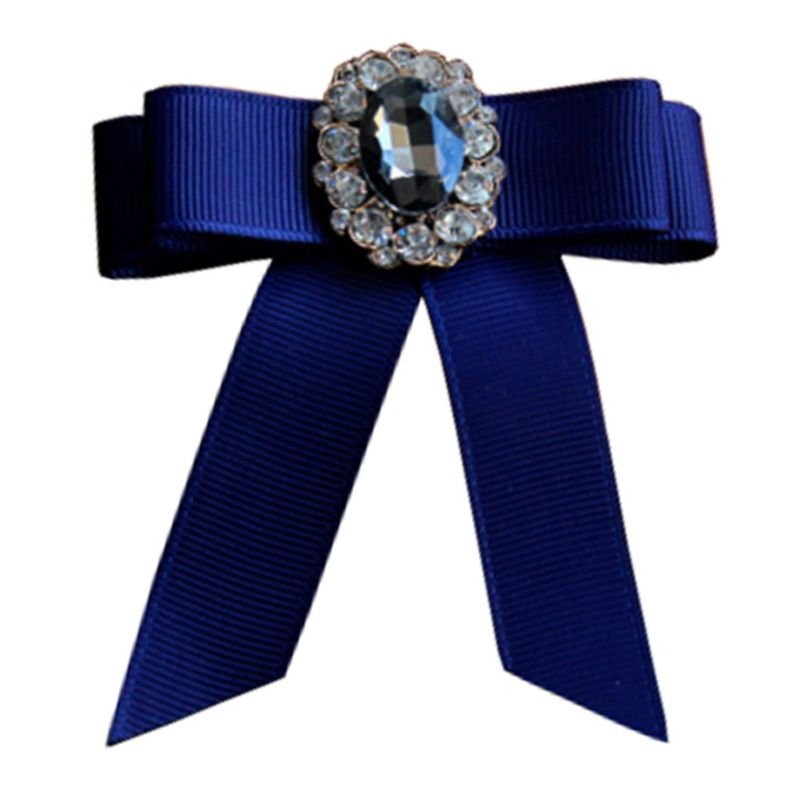 Women Kids Handmade Grosgrain Brooch Pin Bowknot Rhinestone Shirt Collar Necktie