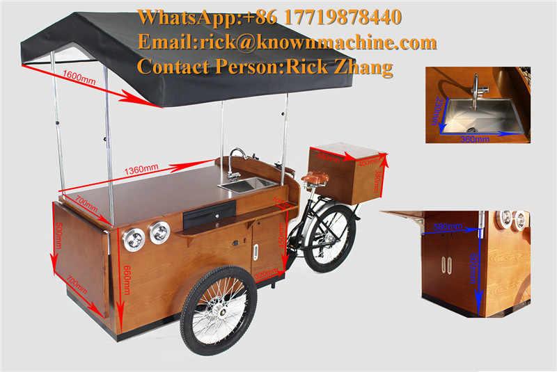 Nuevo carrito de café de 3 ruedas eléctrico para cocina móvil al aire libre/bicicleta a la venta con precio de fábrica y envío gratis por mar