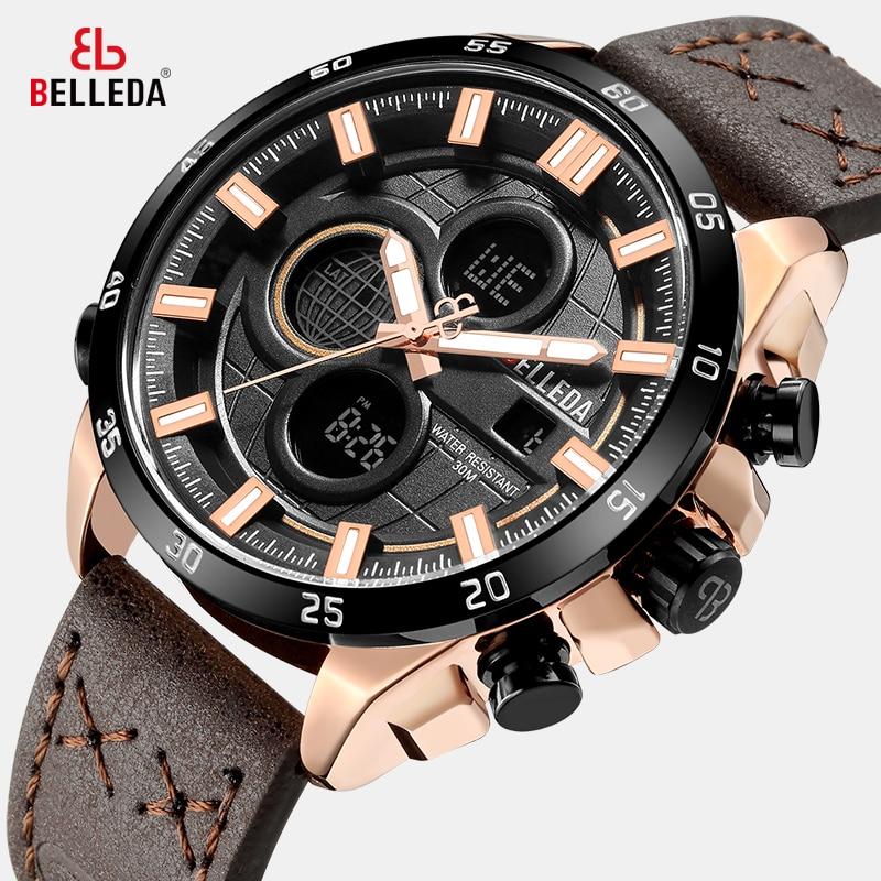 Fashion Luxury BELLEDA Brand Mens Sports Analog Dual Display Black Leather Quartz WristWatches Rose Gold Watch Men Watches