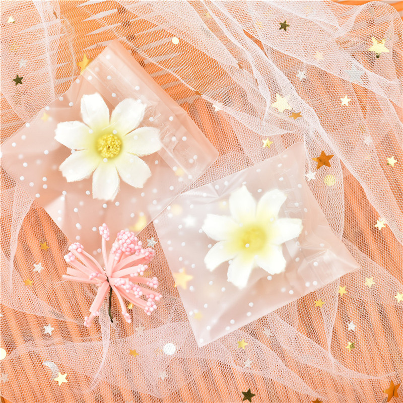 100pcs Plastic Transparent Cellophane Bags Polka Dot Candy Cookie Gift Bag With DIY Self Adhesive Pouch Celofan Bags For Party