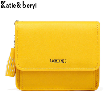 Luxury Brand Leather Small Wallets Women Short Zipper Coin Purse Tassel Design Clutch Wallet Female Money Bag Credit Card Holder men women leather credit card holder case card holder wallet business card female wallet purse luxury clutch wallets