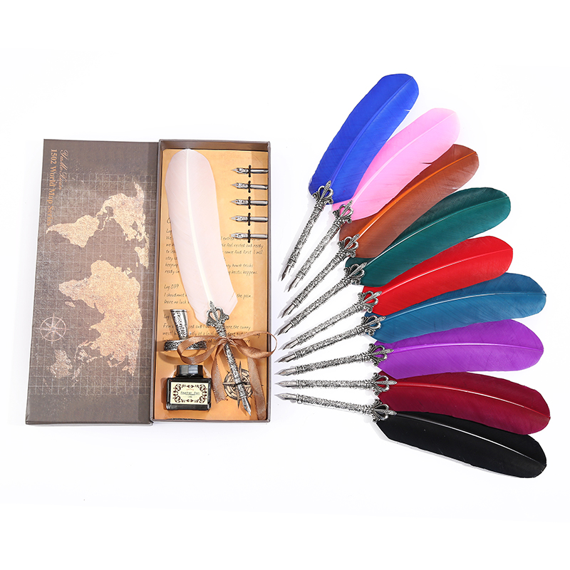 Retro Shearing Crown Pole Feather Pen Set Office Writing Stationery High Quality Stainless Steel Nib Holiday Gift