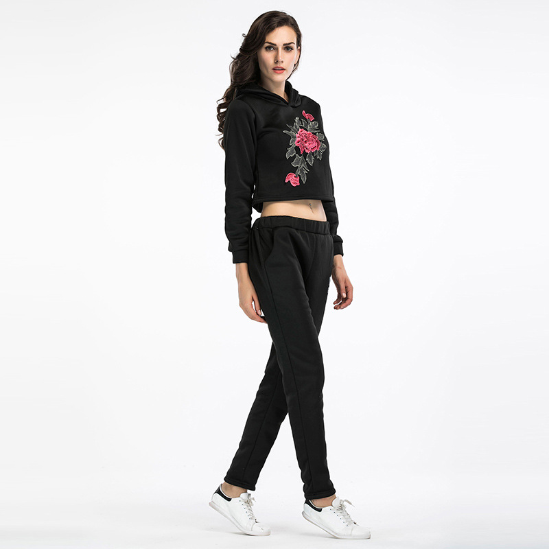 Amazon Fashion Autumn And Winter Women's Long-Sleeve New Style Flowers Print Sports Set Short Hoodie Trousers Two-Piece Women's