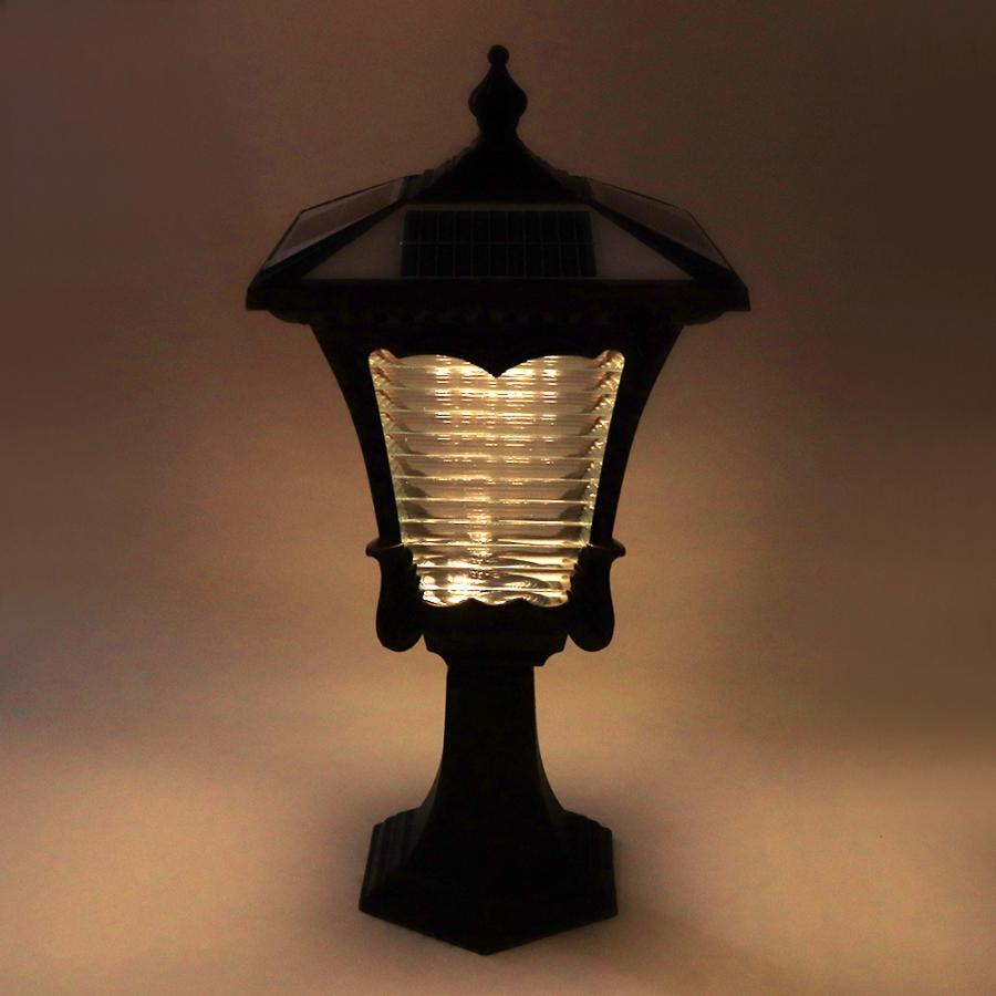 LED Zonne energie Pijler Licht Retro Stijl 2 Kleuren Lantaarn Glas Yard Garden Gate Post Lamp - 2
