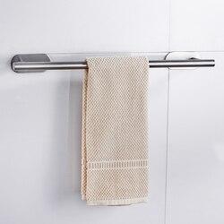 Suporte de prateleira de toalha de banheiro de aço inoxidável fixado na parede cabide auto-adesivo casa hotel organizador rack de suspensão suprimentos haste
