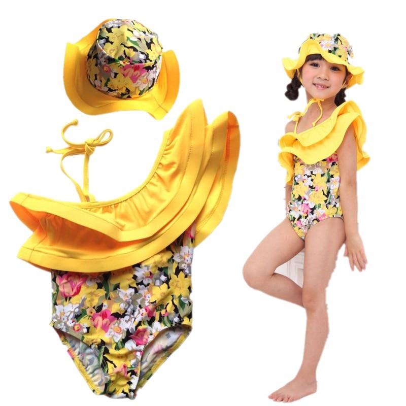 New Baby Swimwear+Hat 2Pcs Set Ruffles Yellow Flowers  Swimming Suit Infant Toddler Swimwear Kids Sunscreen Beach Bathing Suit