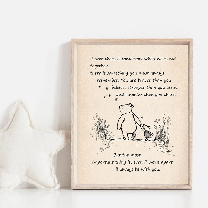 Winnie the Pooh Quote Vintage Poster Prints Nursery Decor If Ever There is Tomorrow Cartoon Art Canvas Painting for Kids Room image