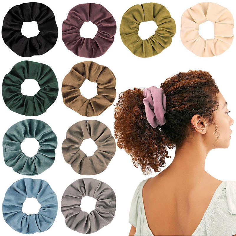 Модные замшевые одноцветные резинки для волос, эластичные резинки для волос для женщин и девушек, резинка для волос, простые резинки для волос карамельного цвета, аксессуары для волос
