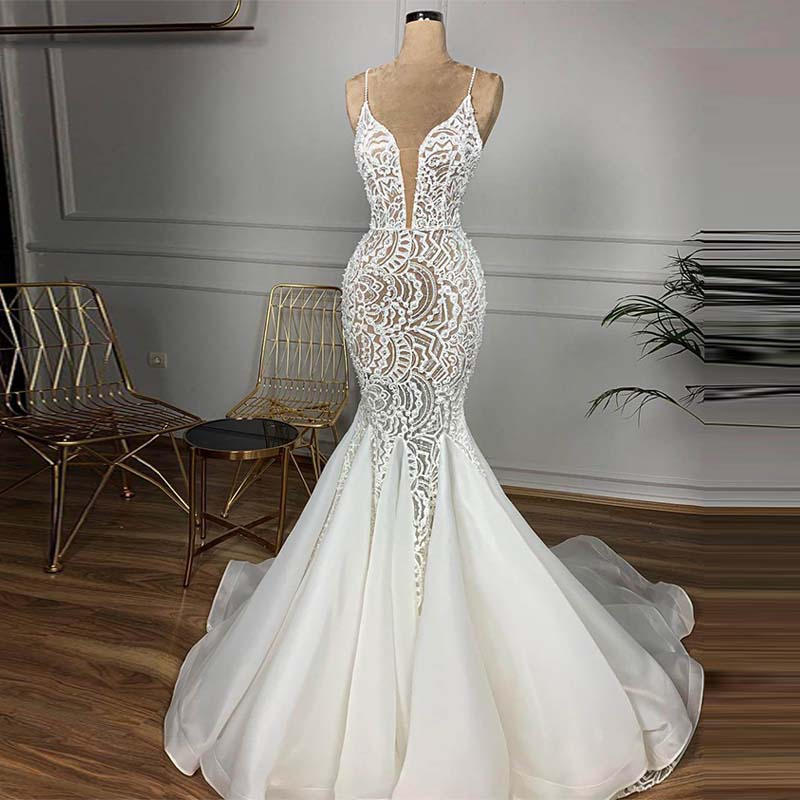 Gorgeous Beaded Lace Mermaid Wedding Dress 2020 Sexy V Neck Backless Ruffles Train Wedding Gowns Vestido De Noiva Free Veil