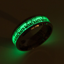 Fashion Glow in the Dark Stainless Steel Ring Luminous Letter/Hexagram Rings New Jewelry for Man Women Halloween Carnival Gift