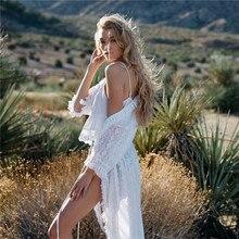 цена на Elegant Fringed Lace Kimono Cardigan Fashion Beach Cover Up Summer Women Tunic Beachwear Bikini Coverup Pareo Plage White Dress