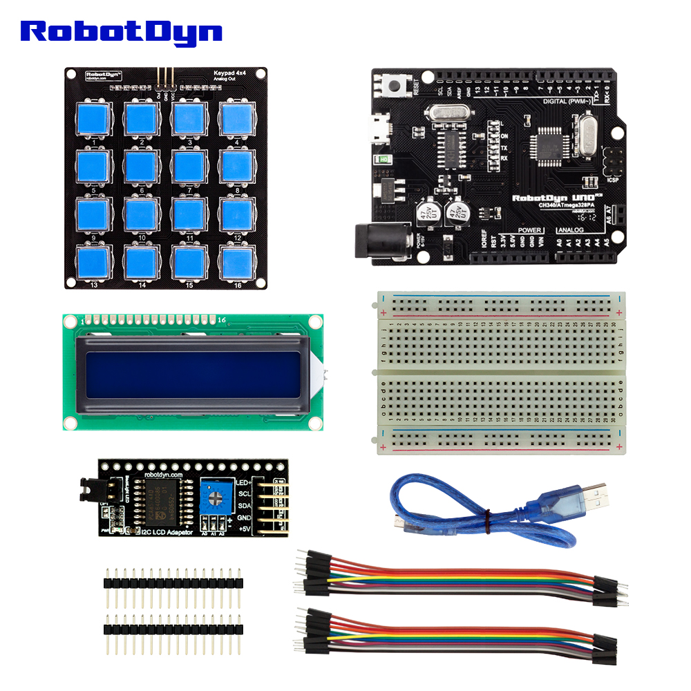 RobotDyn KITs-UNO R3 with LCD display I2C Module button keypad breadboard compatible with Arduino UNO R3 for DIY Electronic