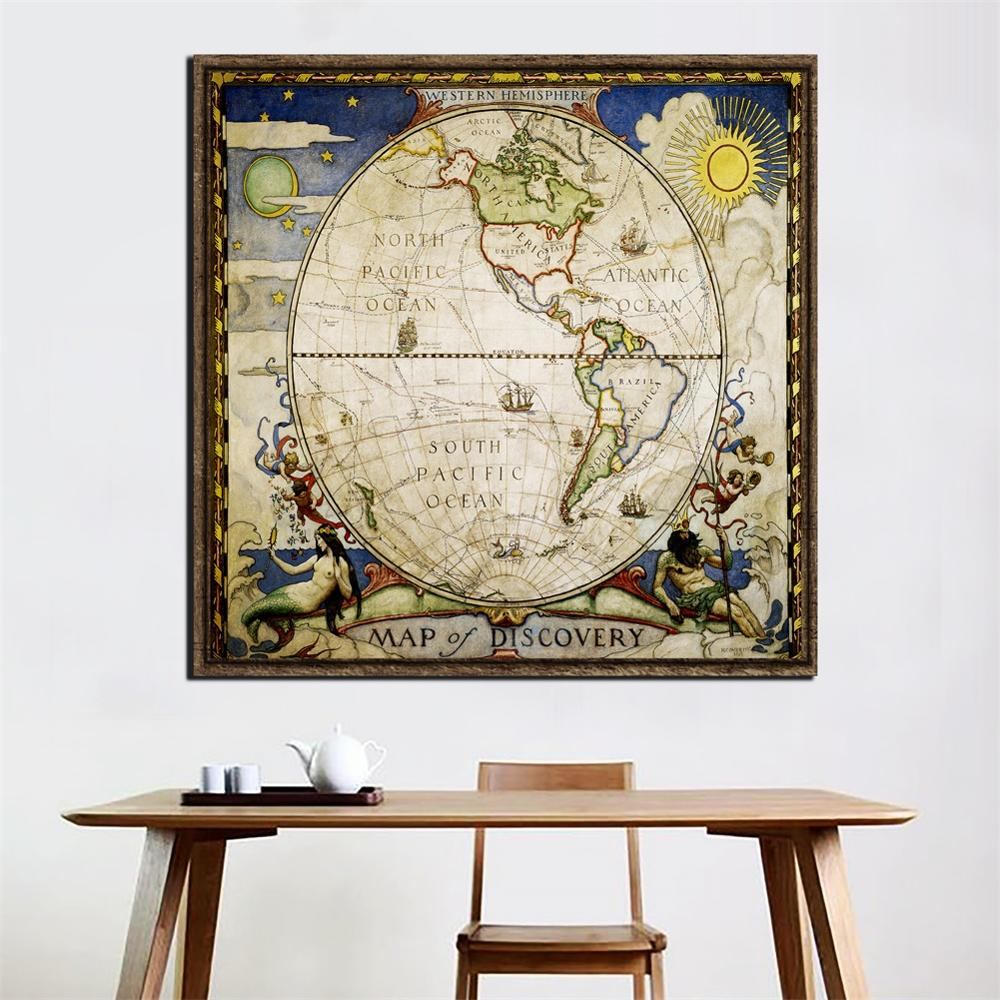 24x24 Inch Western Hemisphere Map Of Discovery Vintage Decor Map Home Office Wall Decoration Painting