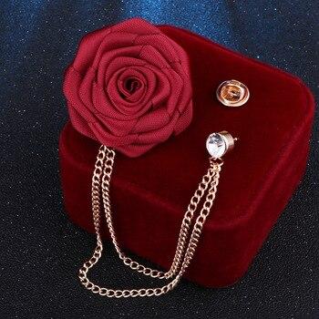 FIMAODZ, broches de boda para novio, broches de tela hechos a mano, broche de flor rosa, Pin para solapa con insignia, cadena con borlas, accesorios para traje de hombre