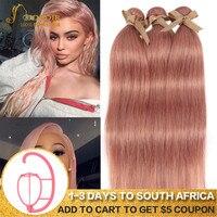 Joedir Hair Brazilian Straight Hair Bundles 100% Human Hair Weave Bundes Rose Gold Pink Color Remy Hair 3 Bundles Deal