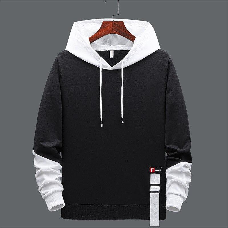 Толстовка мужская черная составного кроя, Свитшот в стиле хип-хоп, уличная одежда в стиле панк, повседневный Модный пуловер, большие размеры...