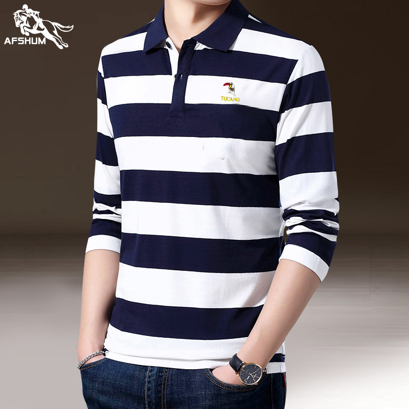 2020 Summer New Men Polo Shirt High Quality Men's Cotton Embroidery Lapel Casual Business Splice Stripe Long Sleeve Polo Shirt