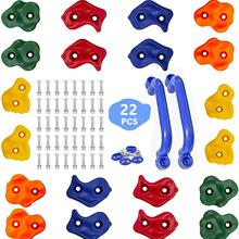 20pc Colourful Shape Children Rock Climbing Holds Indoor Outdoor Kids Playground Building - Mounting Hardware Kit Included