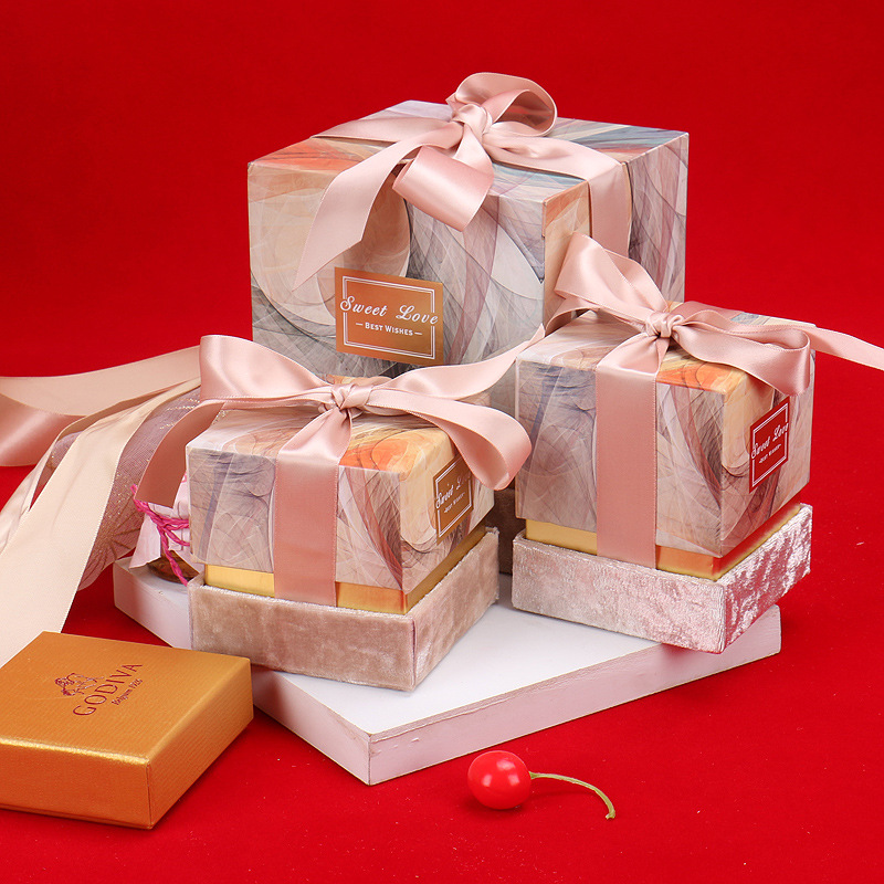 New Paperboard Gift Box With Ribbon Wedding Favor Candy Boxes Flower Box Party Gift Bags Wedding Decoration Baby Shower Party