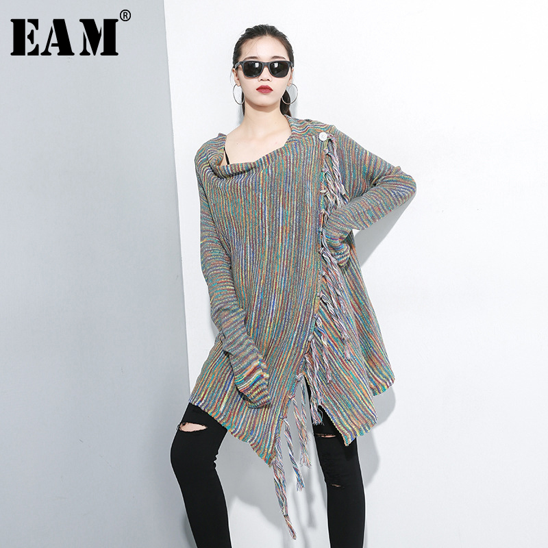 [EAM] Tassel Oversize Knitting Sweater Poncho Loose Fit Round Neck Long Sleeve Women New Fashion Autumn Winter 2020 1A701
