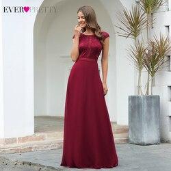 Элегантные бордовые вечерние платья Ever Pretty EP00737BD A-Line с коротким рукавом и круглым вырезом прозрачные вечерние кружевные платья Robe De Soiree