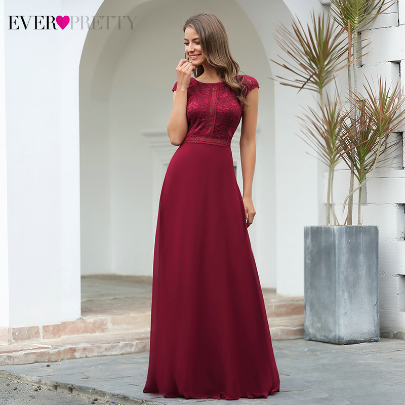 Elegant Burgundy Evening Dresses Ever Pretty EP00737BD A-Line Cap Sleeve O-Neck See-Through Lace Evening Gowns Robe De Soiree